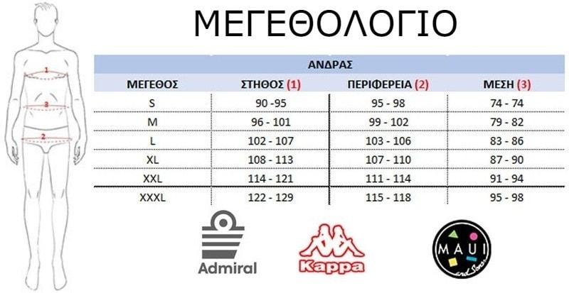Admiral etc man size chart